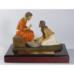 耶穌為門徒洗腳(橙色衣)(英文經文)